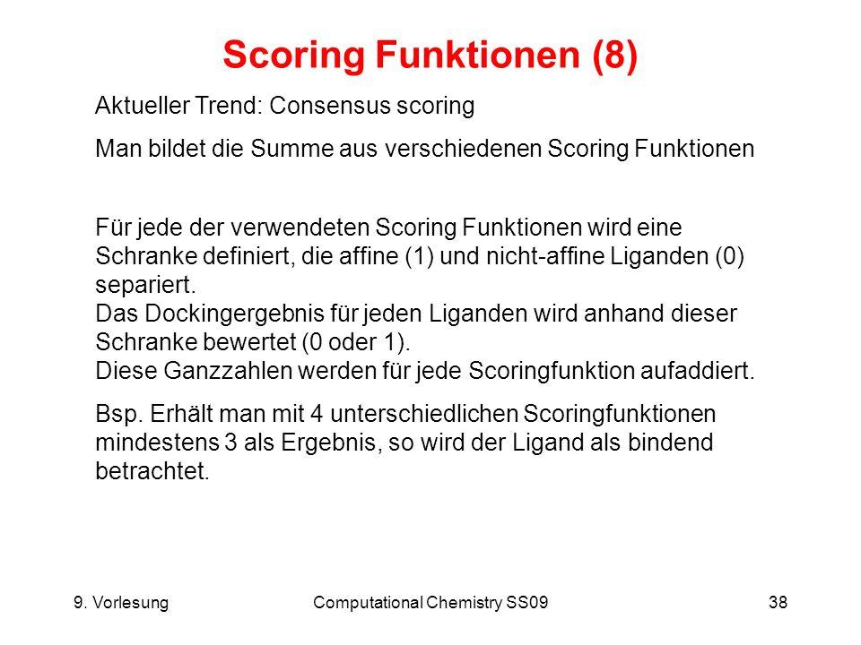 9. VorlesungComputational Chemistry SS0938 Scoring Funktionen (8) Aktueller Trend: Consensus scoring Man bildet die Summe aus verschiedenen Scoring Fu