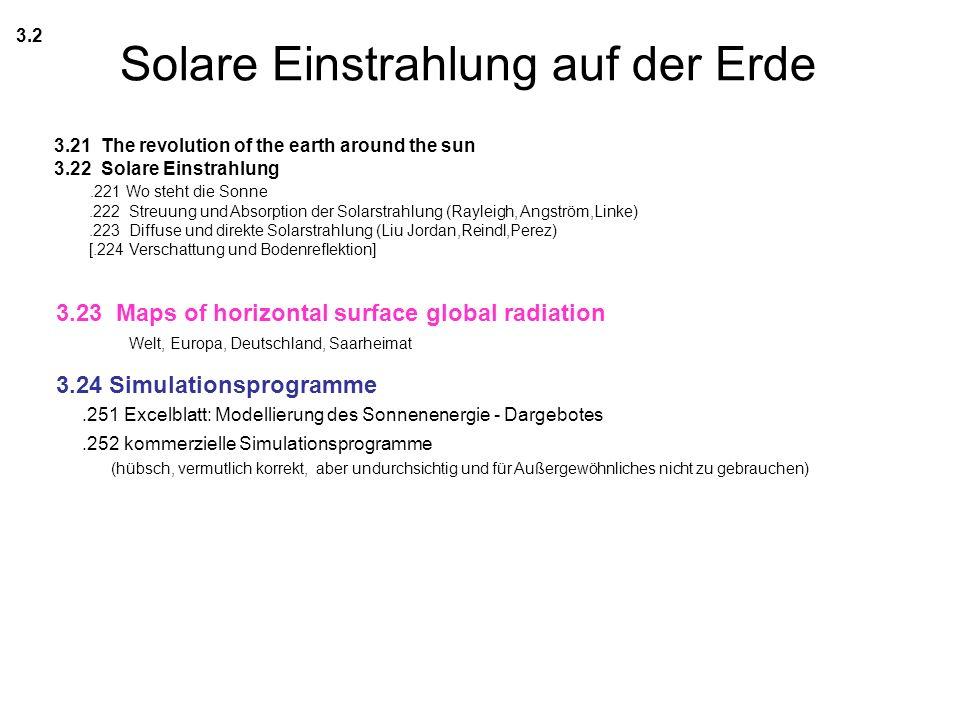 Solare Einstrahlung auf der Erde 3.2 3.21 The revolution of the earth around the sun 3.22 Solare Einstrahlung.221 Wo steht die Sonne.222 Streuung und