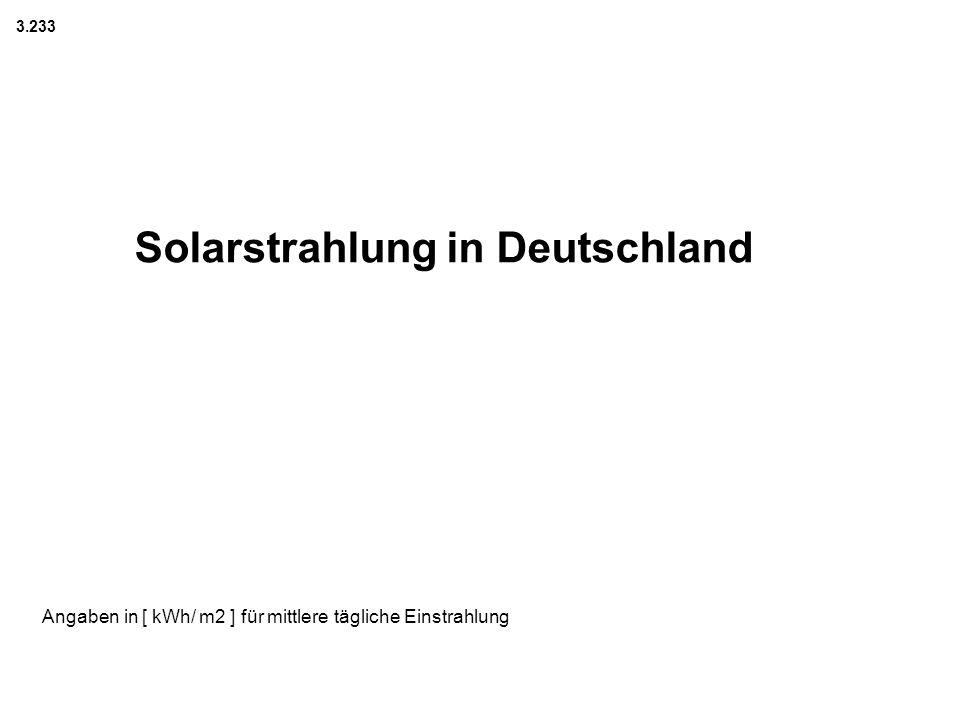 Angaben in [ kWh/ m2 ] für mittlere tägliche Einstrahlung Solarstrahlung in Deutschland 3.233