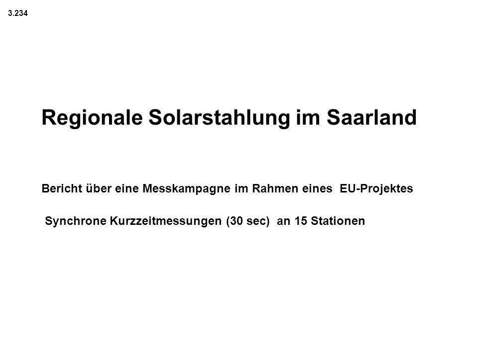 Regionale Solarstahlung im Saarland Bericht über eine Messkampagne im Rahmen eines EU-Projektes Synchrone Kurzzeitmessungen (30 sec) an 15 Stationen 3