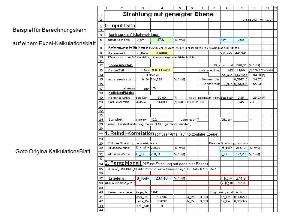 Beispiel für Berechnungskern auf einem Excel-Kalkulationsblatt Goto OriginalKalkulationsBlatt