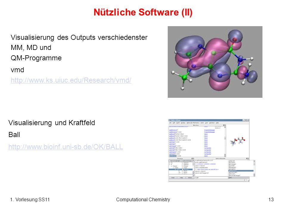 1. Vorlesung SS11Computational Chemistry13 Visualisierung des Outputs verschiedenster MM, MD und QM-Programme vmd http://www.ks.uiuc.edu/Research/vmd/