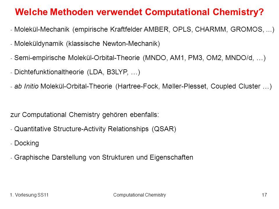 1. Vorlesung SS11Computational Chemistry17 - Molekül-Mechanik (empirische Kraftfelder AMBER, OPLS, CHARMM, GROMOS,...) - Moleküldynamik (klassische Ne