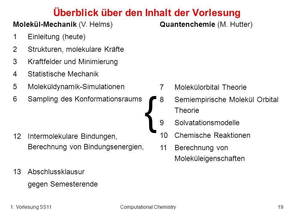 1. Vorlesung SS11Computational Chemistry19 Überblick über den Inhalt der Vorlesung Molekül-Mechanik (V. Helms) 1Einleitung (heute) 2Strukturen, moleku