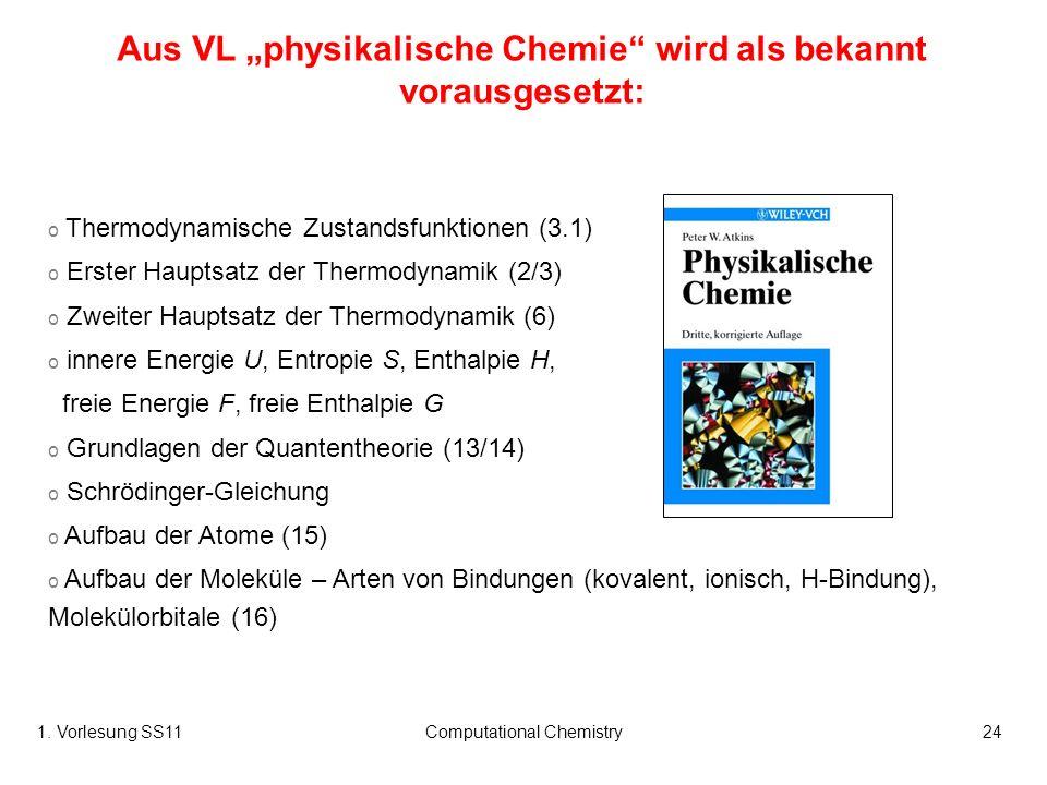 1. Vorlesung SS11Computational Chemistry24 o Thermodynamische Zustandsfunktionen (3.1) o Erster Hauptsatz der Thermodynamik (2/3) o Zweiter Hauptsatz