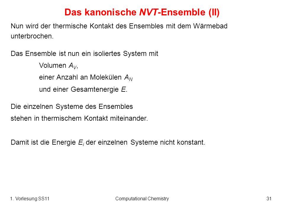 1. Vorlesung SS11Computational Chemistry31 Nun wird der thermische Kontakt des Ensembles mit dem Wärmebad unterbrochen. Das Ensemble ist nun ein isoli