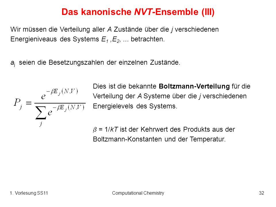1. Vorlesung SS11Computational Chemistry32 Wir müssen die Verteilung aller A Zustände über die j verschiedenen Energieniveaus des Systems E 1,E 2,...