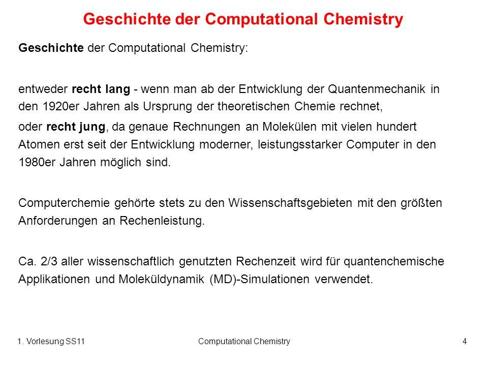 1. Vorlesung SS11Computational Chemistry4 Geschichte der Computational Chemistry Geschichte der Computational Chemistry: entweder recht lang - wenn ma