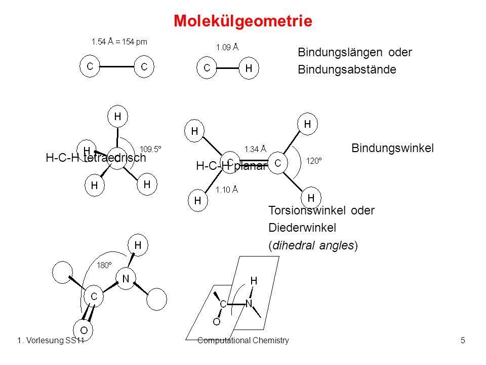 1. Vorlesung SS11Computational Chemistry5 Molekülgeometrie Bindungslängen oder Bindungsabstände Bindungswinkel Torsionswinkel oder Diederwinkel (dihed