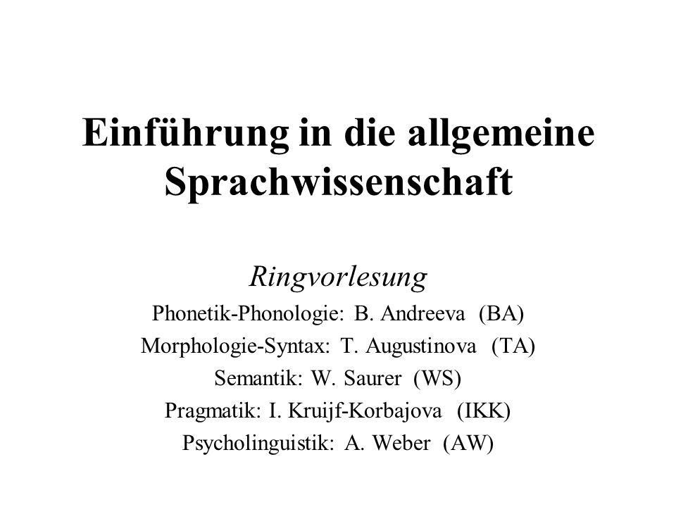 Einführung in die allgemeine Sprachwissenschaft Ringvorlesung Phonetik-Phonologie: B. Andreeva (BA) Morphologie-Syntax: T. Augustinova (TA) Semantik:
