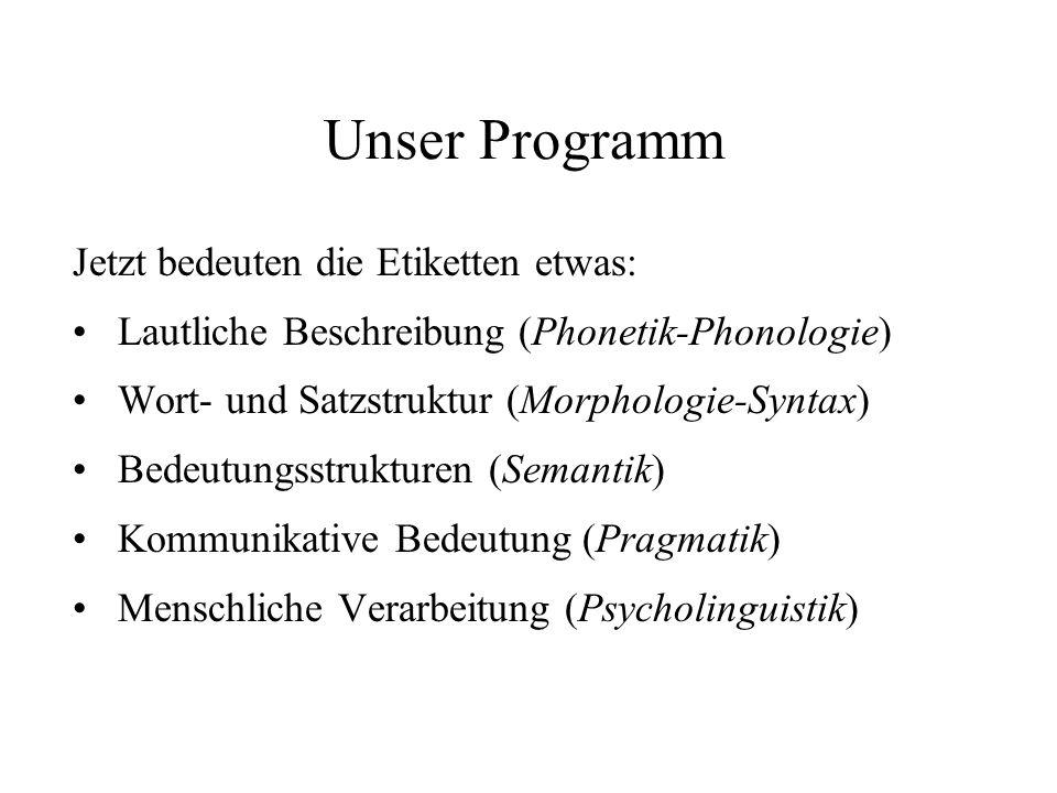 Unser Programm Jetzt bedeuten die Etiketten etwas: Lautliche Beschreibung (Phonetik-Phonologie) Wort- und Satzstruktur (Morphologie-Syntax) Bedeutungs