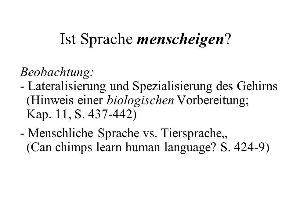 Ist Sprache menscheigen? Beobachtung: - Lateralisierung und Spezialisierung des Gehirns (Hinweis einer biologischen Vorbereitung; Kap. 11, S. 437-442)