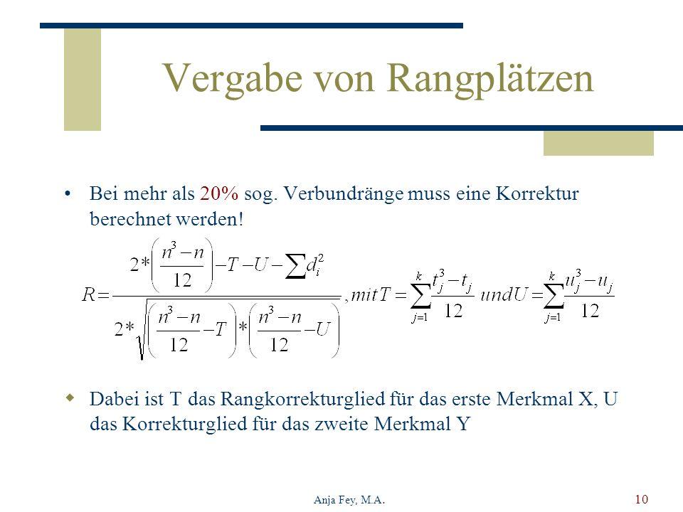 Anja Fey, M.A.10 Vergabe von Rangplätzen Bei mehr als 20% sog. Verbundränge muss eine Korrektur berechnet werden! Dabei ist T das Rangkorrekturglied f