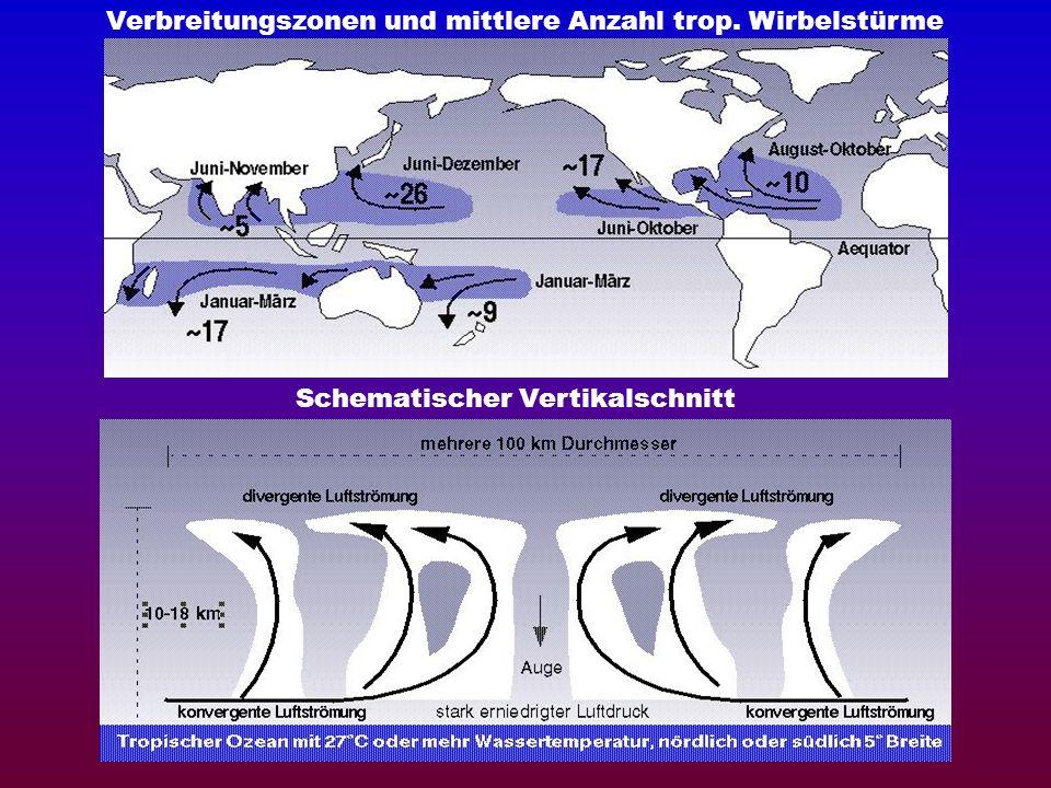 Verbreitungszonen und mittlere Anzahl trop. Wirbelstürme Schematischer Vertikalschnitt