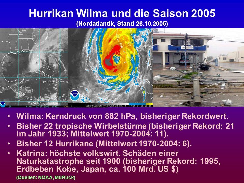 Zusammenfassung der Ergebnisse (3) Tropische Wirbelstürme (Hurrikane usw.) entstehen bei bestimmten Konstellationen, wobei die Meeresoberflächentemperatur der wichtigste Einflussfaktor ist.