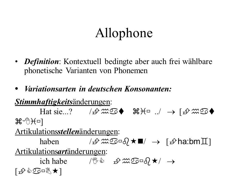 Allophone Variationsarten in deutschen Konsonanten: Definition: Kontextuell bedingte aber auch frei wählbare phonetische Varianten von Phonemen Stimmh