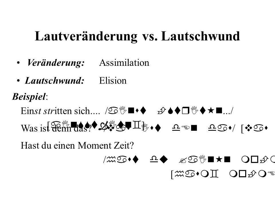 Lautveränderung vs. Lautschwund Lautschwund:Elision Veränderung:Assimilation Beispiel: Einst stritten sich.... / aInst StrIt n.../ [ aInSSt Itn ] Was