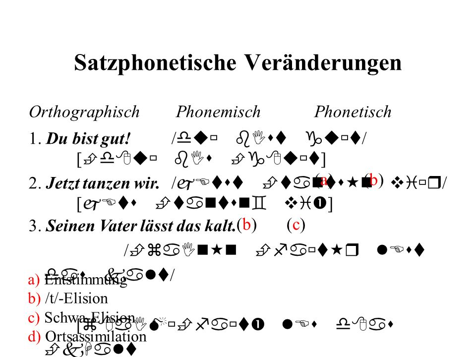 Satzphonetische Veränderungen 2. Jetzt tanzen wir./ jEtst tants n vi r / [ jEts tantsn vi ] (b) (c) Orthographisch Phonemisch Phonetisch 1. Du bist gu
