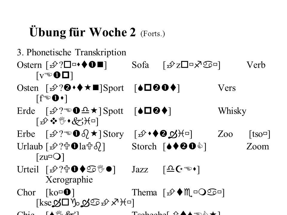 Übung für Woche 2 (Forts.) 3. Phonetische Transkription Ostern[ ? o st n ]Sofa [ z o fa ]Verb [v E p ] Osten [ ? st n ]Sport [ Sp t ]Vers [f E s ] Erd
