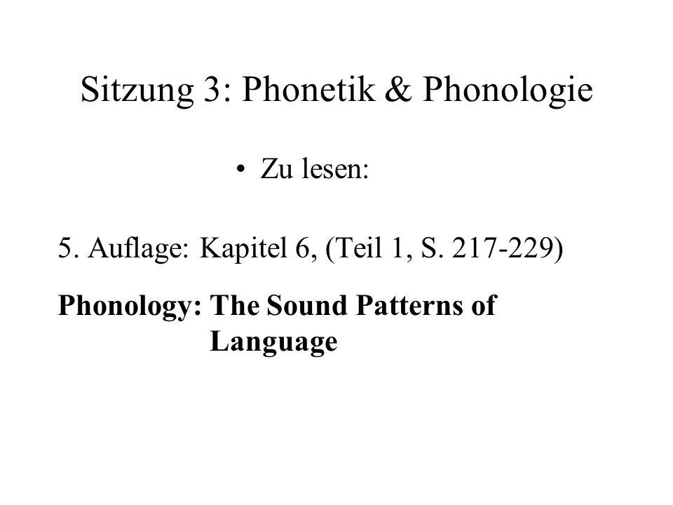 Sitzung 3: Phonetik & Phonologie Zu lesen: 5. Auflage: Kapitel 6, (Teil 1, S. 217-229) Phonology: The Sound Patterns of Language