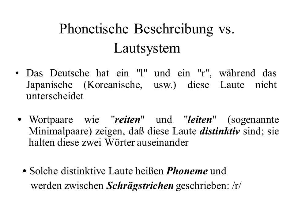 Phonetische Beschreibung vs. Lautsystem Wortpaare wie