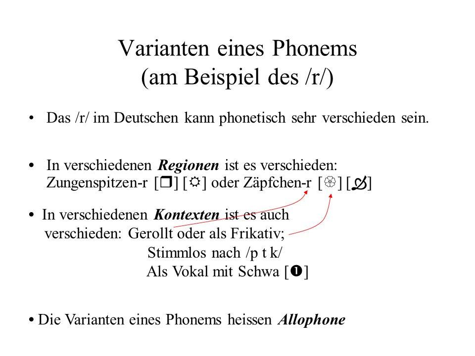 Varianten eines Phonems (am Beispiel des /r/) In verschiedenen Regionen ist es verschieden: Zungenspitzen-r [ r ] [ ] oder Zäpfchen-r [ ] [ ] Das /r/