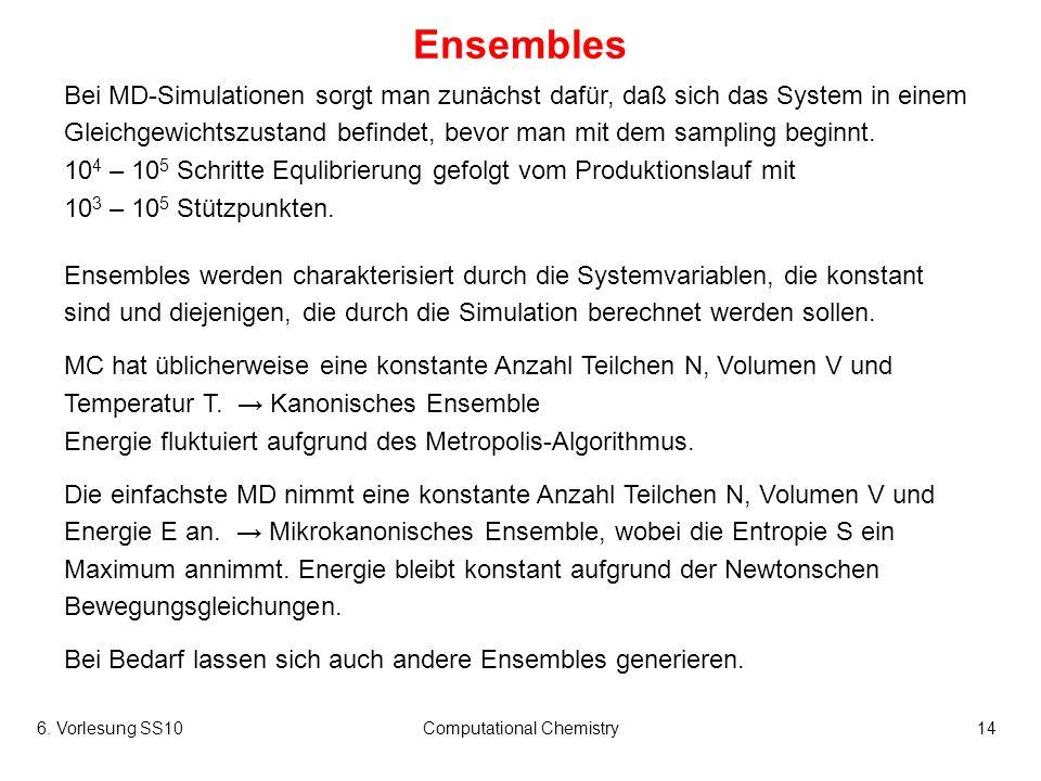 6. Vorlesung SS10Computational Chemistry14 Ensembles Bei MD-Simulationen sorgt man zunächst dafür, daß sich das System in einem Gleichgewichtszustand