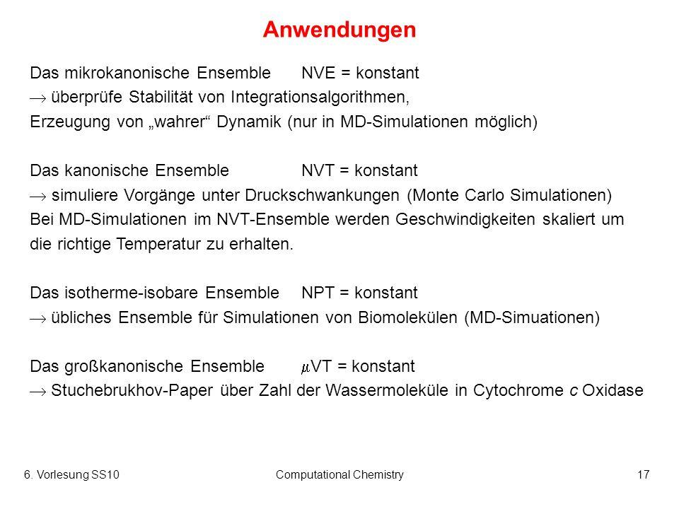 6. Vorlesung SS10Computational Chemistry17 Anwendungen Das mikrokanonische EnsembleNVE = konstant überprüfe Stabilität von Integrationsalgorithmen, Er