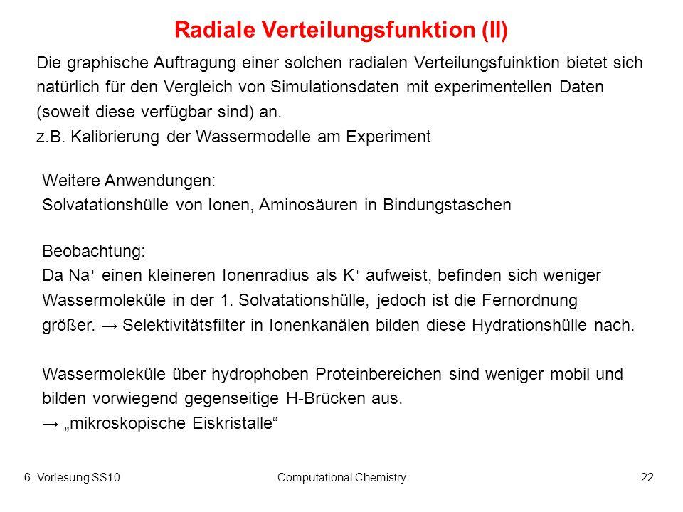 6. Vorlesung SS10Computational Chemistry22 Radiale Verteilungsfunktion (II) Die graphische Auftragung einer solchen radialen Verteilungsfuinktion biet