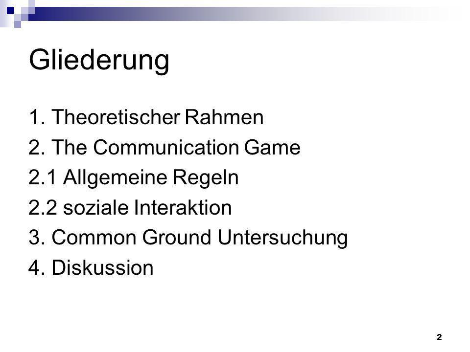 2 Gliederung 1. Theoretischer Rahmen 2. The Communication Game 2.1 Allgemeine Regeln 2.2 soziale Interaktion 3. Common Ground Untersuchung 4. Diskussi