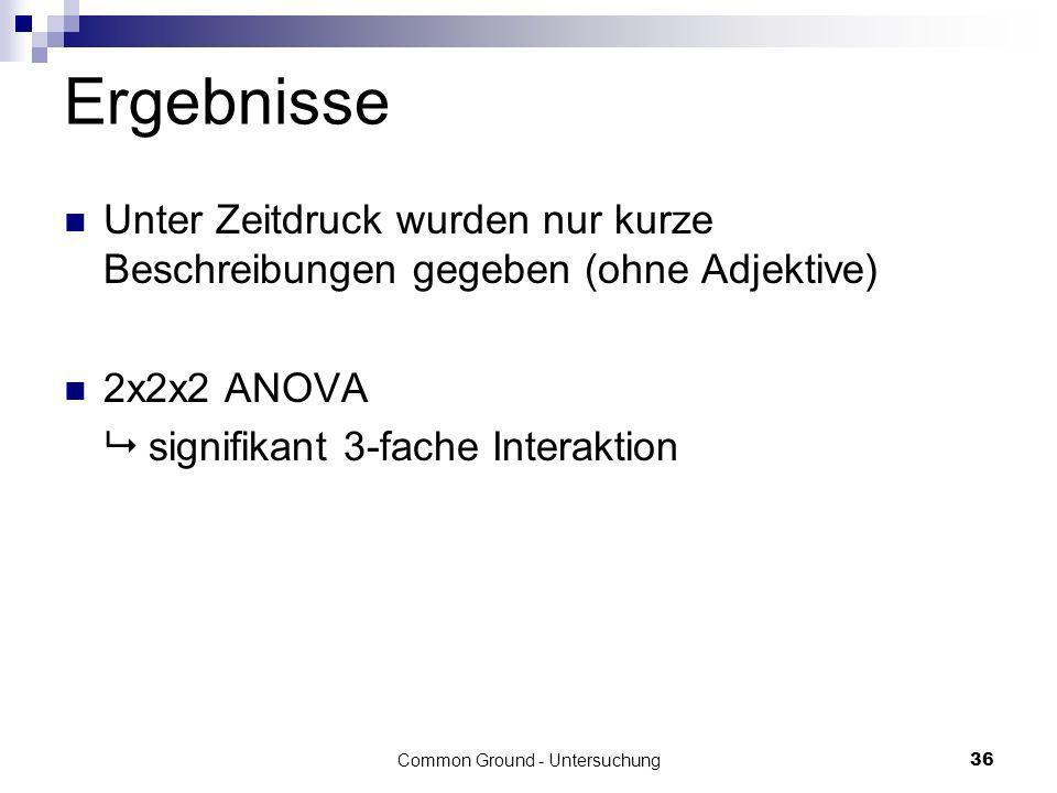 Common Ground - Untersuchung36 Ergebnisse Unter Zeitdruck wurden nur kurze Beschreibungen gegeben (ohne Adjektive) 2x2x2 ANOVA signifikant 3-fache Int