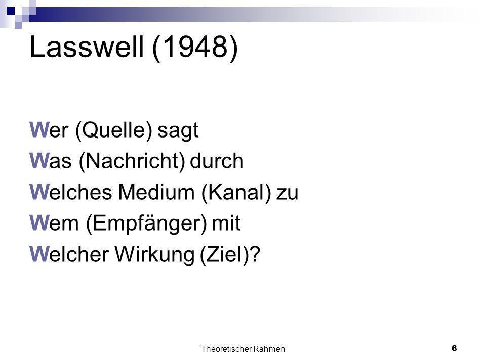 Theoretischer Rahmen6 Lasswell (1948) Wer (Quelle) sagt Was (Nachricht) durch Welches Medium (Kanal) zu Wem (Empfänger) mit Welcher Wirkung (Ziel)?