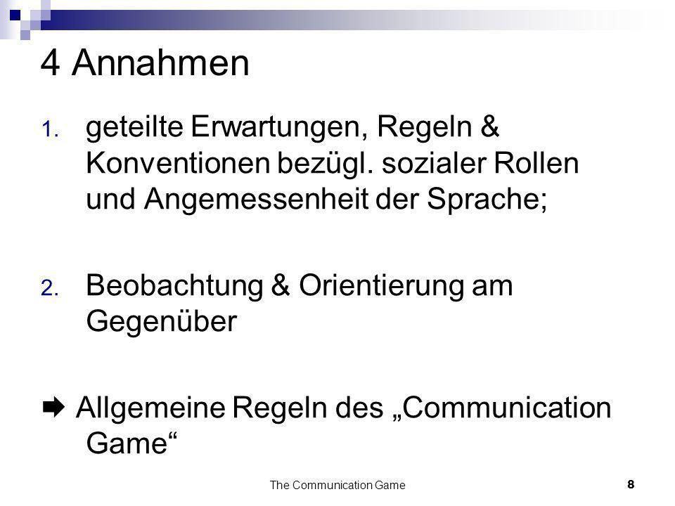 The Communication Game8 4 Annahmen 1. geteilte Erwartungen, Regeln & Konventionen bezügl. sozialer Rollen und Angemessenheit der Sprache; 2. Beobachtu