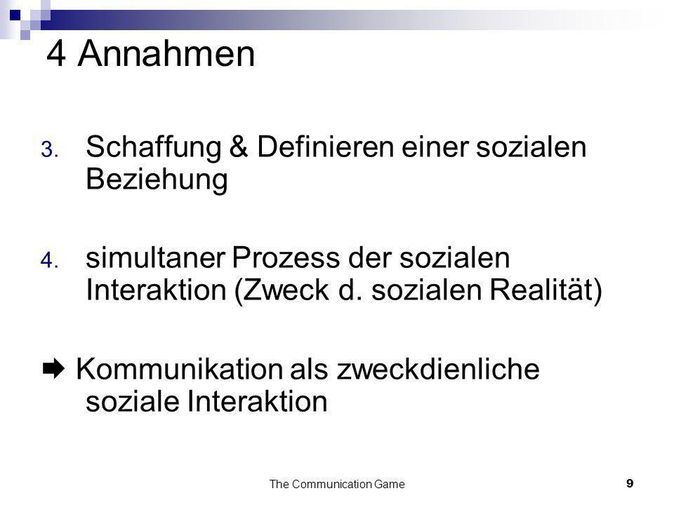 The Communication Game9 4 Annahmen 3. Schaffung & Definieren einer sozialen Beziehung 4. simultaner Prozess der sozialen Interaktion (Zweck d. soziale