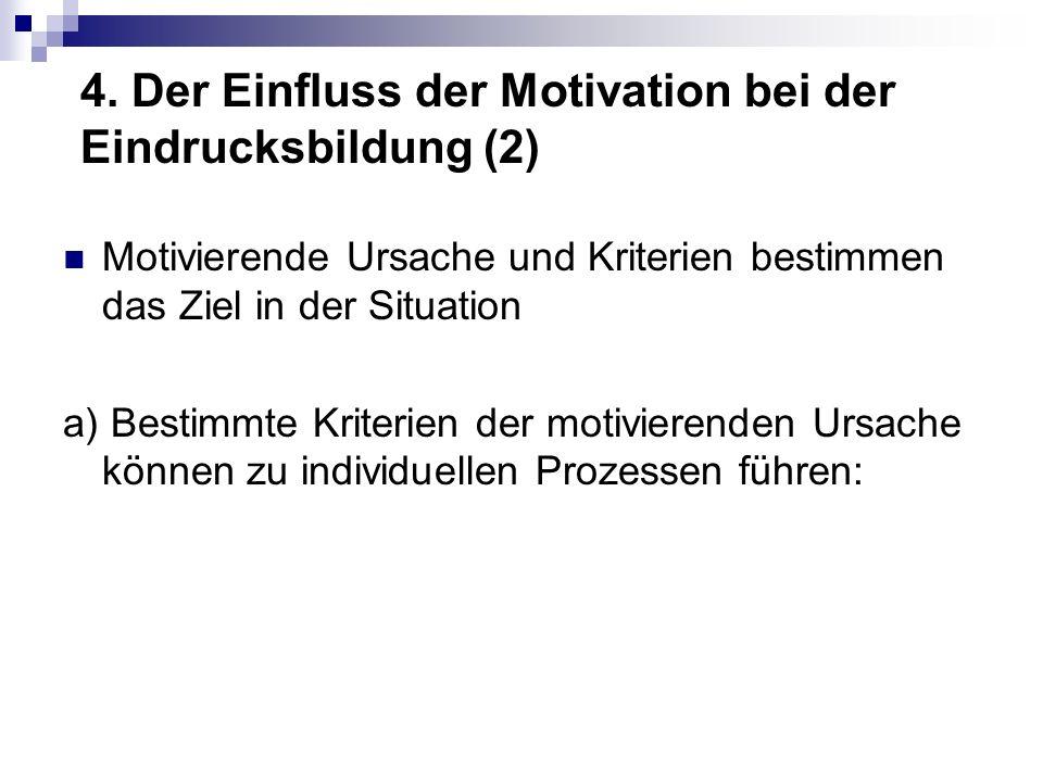 4. Der Einfluss der Motivation bei der Eindrucksbildung (2) Motivierende Ursache und Kriterien bestimmen das Ziel in der Situation a) Bestimmte Kriter