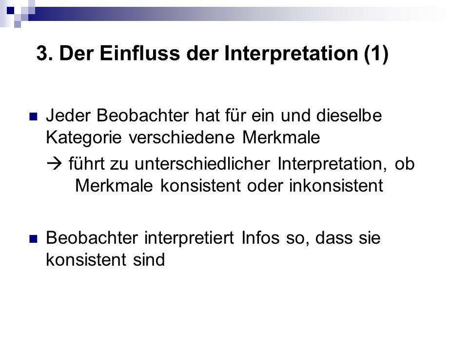 3. Der Einfluss der Interpretation (1) Jeder Beobachter hat für ein und dieselbe Kategorie verschiedene Merkmale führt zu unterschiedlicher Interpreta