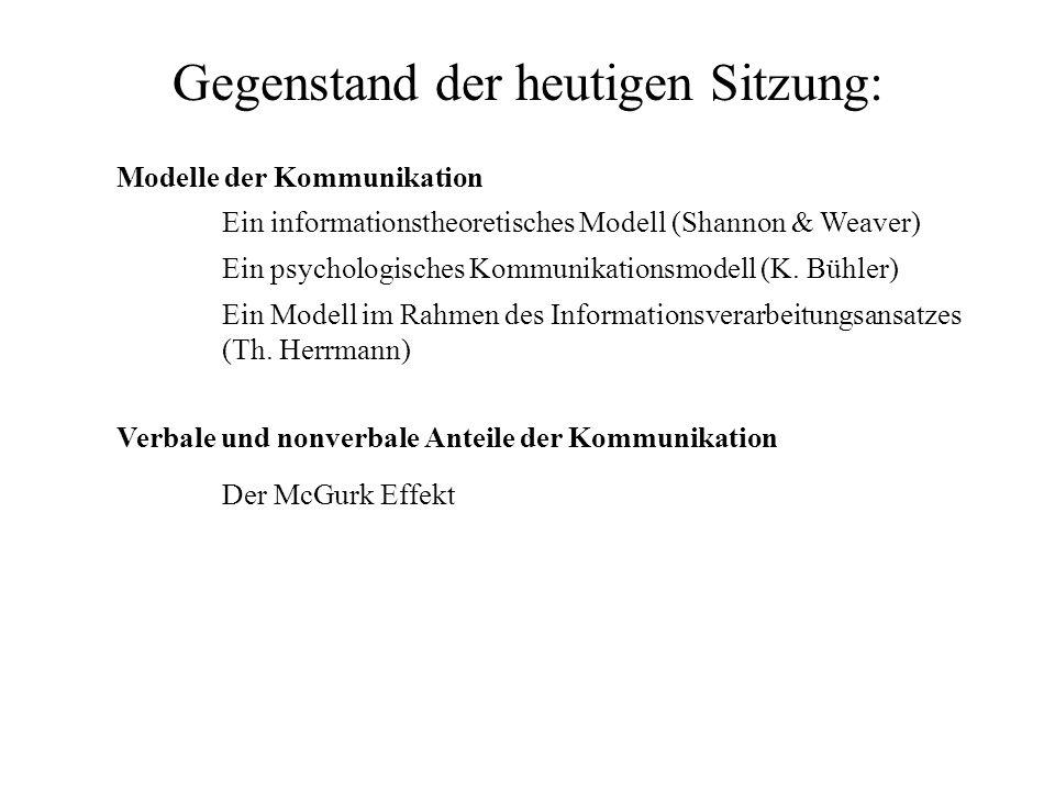 Gegenstand der heutigen Sitzung: Modelle der Kommunikation Ein informationstheoretisches Modell (Shannon & Weaver) Ein psychologisches Kommunikationsm