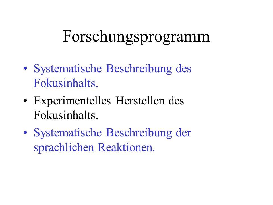 Forschungsprogramm Systematische Beschreibung des Fokusinhalts. Experimentelles Herstellen des Fokusinhalts. Systematische Beschreibung der sprachlich