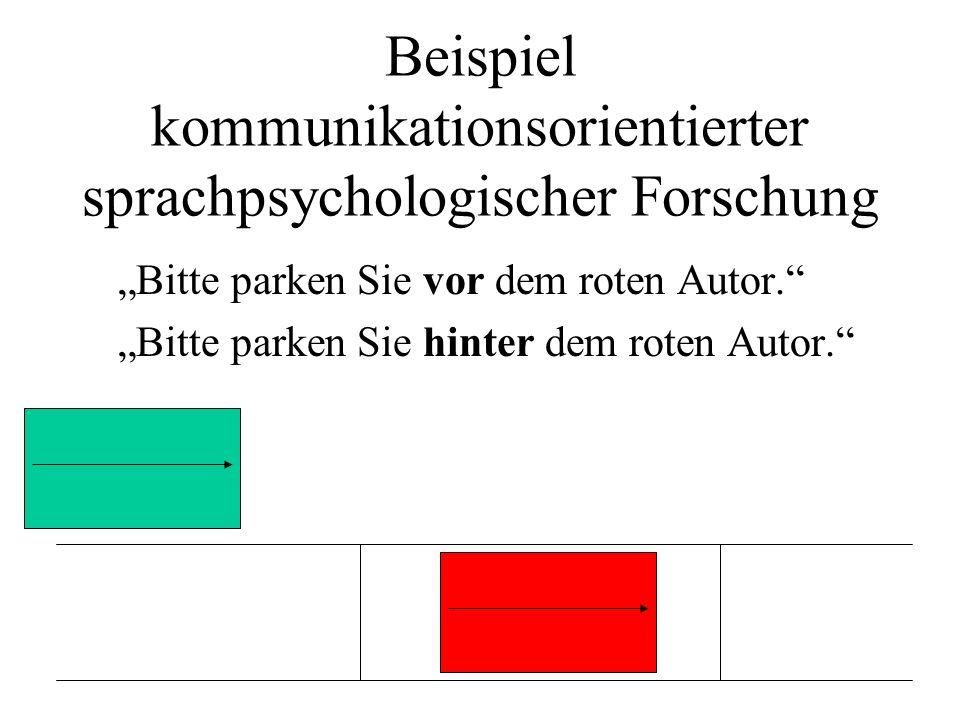 Beispiel kommunikationsorientierter sprachpsychologischer Forschung Bitte parken Sie vor dem roten Autor. Bitte parken Sie hinter dem roten Autor.