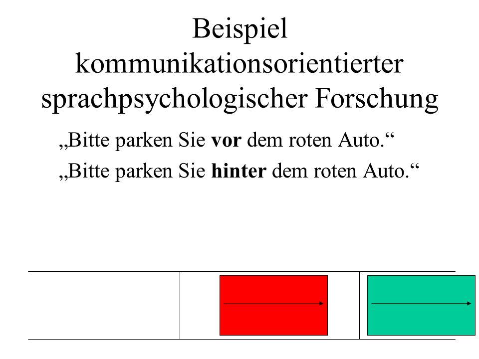 Beispiel kommunikationsorientierter sprachpsychologischer Forschung Bitte parken Sie vor dem roten Auto. Bitte parken Sie hinter dem roten Auto.