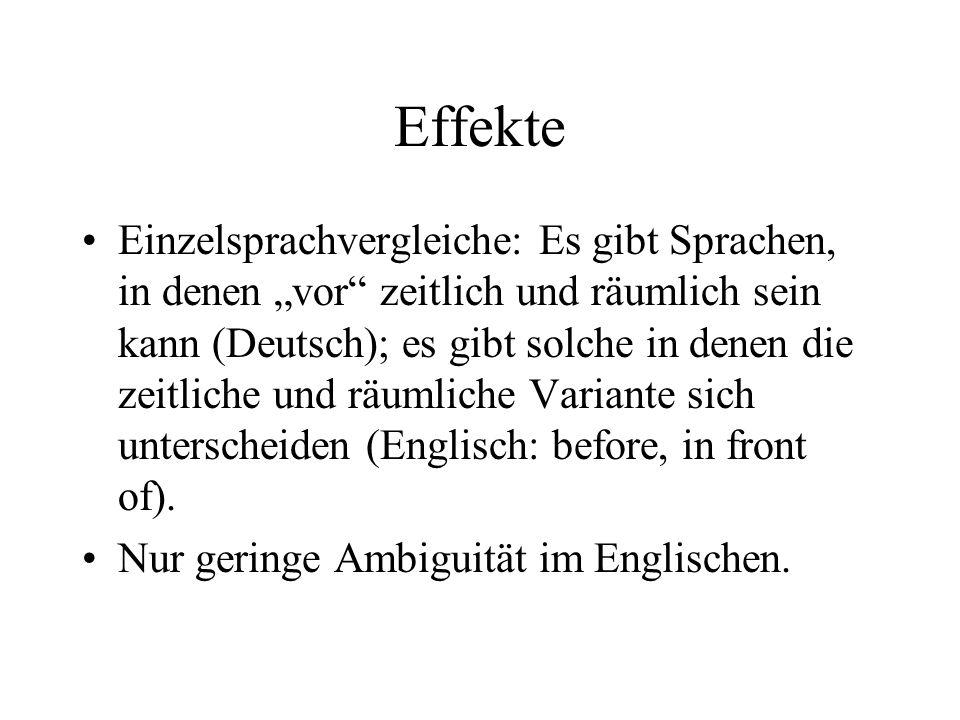 Effekte Einzelsprachvergleiche: Es gibt Sprachen, in denen vor zeitlich und räumlich sein kann (Deutsch); es gibt solche in denen die zeitliche und rä