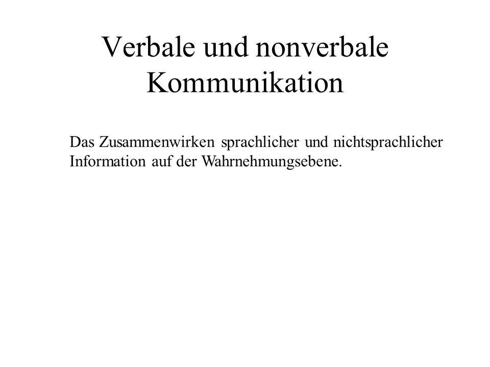 Verbale und nonverbale Kommunikation Das Zusammenwirken sprachlicher und nichtsprachlicher Information auf der Wahrnehmungsebene.