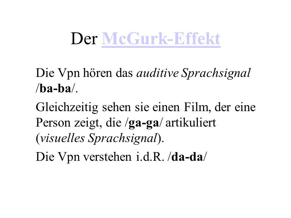 Der McGurk-EffektMcGurk-Effekt Die Vpn hören das auditive Sprachsignal /ba-ba/. Gleichzeitig sehen sie einen Film, der eine Person zeigt, die /ga-ga/