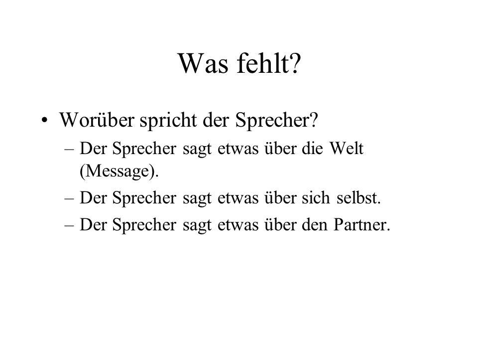 Was fehlt? Worüber spricht der Sprecher? –Der Sprecher sagt etwas über die Welt (Message). –Der Sprecher sagt etwas über sich selbst. –Der Sprecher sa