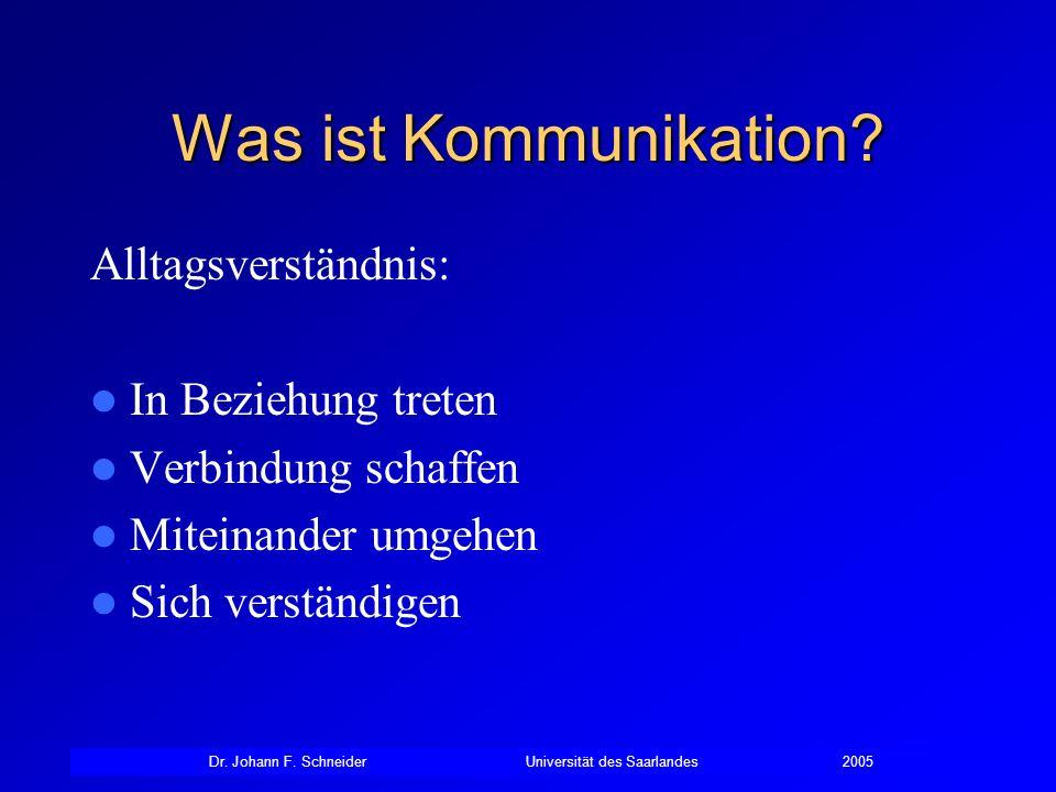 Dr. Johann F. SchneiderUniversität des Saarlandes2005 Was ist Kommunikation? Alltagsverständnis: In Beziehung treten Verbindung schaffen Miteinander u