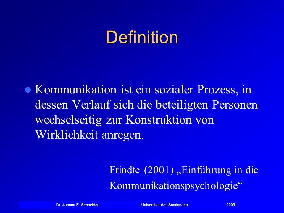 Dr. Johann F. SchneiderUniversität des Saarlandes2005 Definition Kommunikation ist ein sozialer Prozess, in dessen Verlauf sich die beteiligten Person