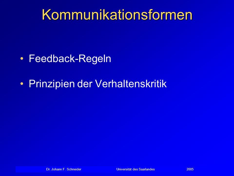 Kommunikationsformen Feedback-Regeln Prinzipien der Verhaltenskritik