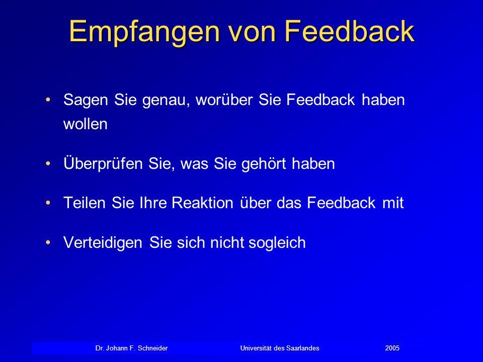 Dr. Johann F. SchneiderUniversität des Saarlandes2005 Empfangen von Feedback Sagen Sie genau, worüber Sie Feedback haben wollen Überprüfen Sie, was Si