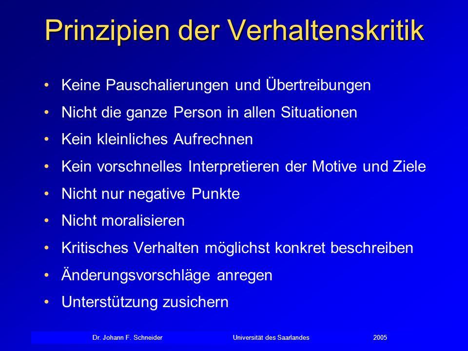 Dr. Johann F. SchneiderUniversität des Saarlandes2005 Prinzipien der Verhaltenskritik Keine Pauschalierungen und Übertreibungen Nicht die ganze Person