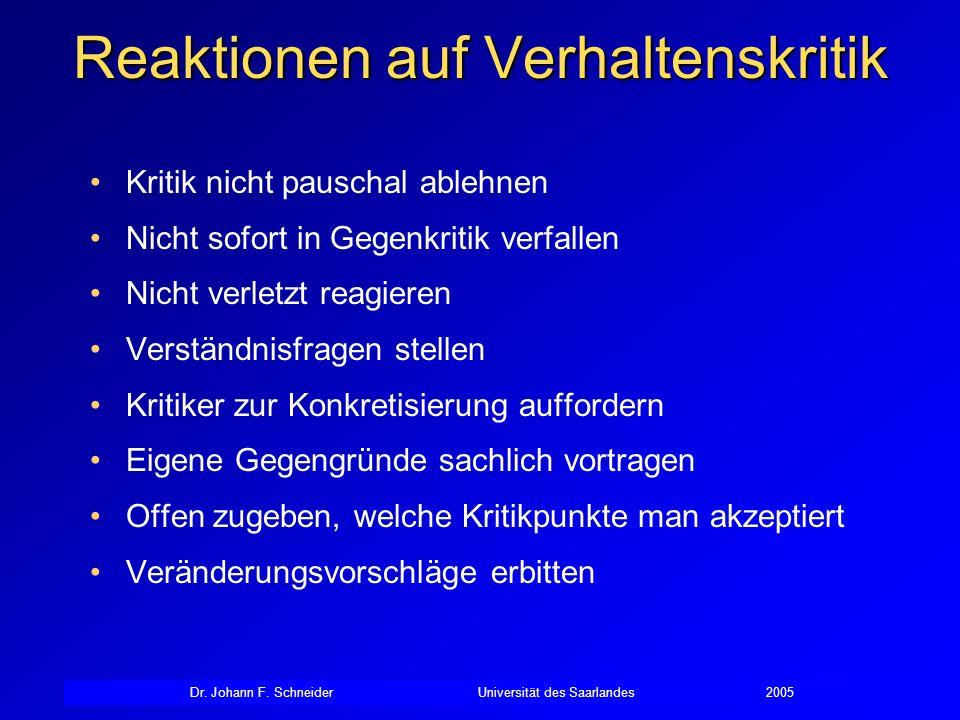 Dr. Johann F. SchneiderUniversität des Saarlandes2005 Reaktionen auf Verhaltenskritik Kritik nicht pauschal ablehnen Nicht sofort in Gegenkritik verfa